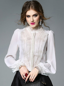 Work Stand Collar Pure Color Blouse