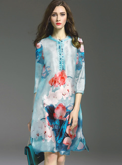 Vintage Lotus Print Double-Breasted Shift Dress