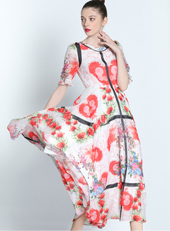 Bohemia Multicolor Print High Waist Maxi Dress