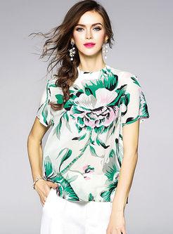 Floral Print Silk Short Sleeve T-shirt
