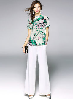 Floral Print Silk Short Sleeve T-shirt