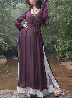 Pure Color O-neck Long Sleeve Maxi Dress