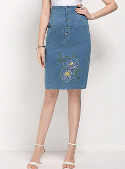 Sweet Embroidered Tight Jean Skirt