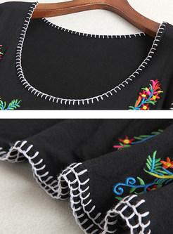 Vintage Embroidered Slim Thin Sleeveless Skater Dress