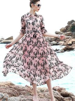 Turn Down Collar Floral Print Slim Skater Dress