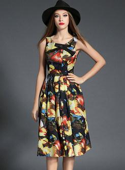 Wrinkle Floral Print Sleeveless O-neck Skater Dress