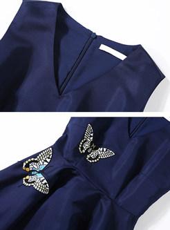 Vintage Butterfly Embroidered Sleeveless V-neck Skater Dress