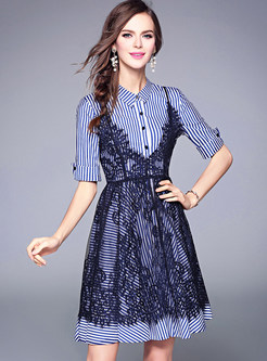 Stripe Short Sleeve Shirt Dress With Hollow Out Lace Dress