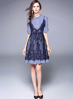 Striped Shirt Dress & Openwork Lace Dress
