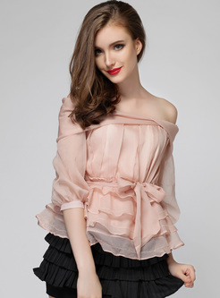 Boat Neck Layered Hem Blouse