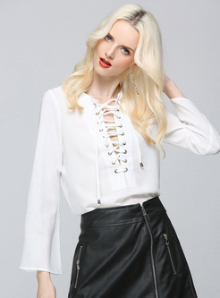 Elegant Lace-up Flare Sleeve White Blouse