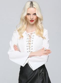 Elegant Lace-up Flare Sleeve White Blouse