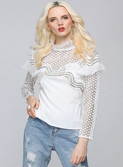 Sexy Lace Perspective Pullover Blouse