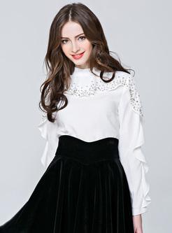 Black Falbala Sleeve Bead Pullover Blouse