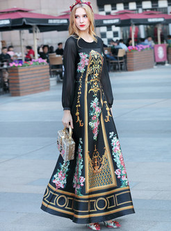 Ethnic Floral Print Long Sleeve Maxi Dress