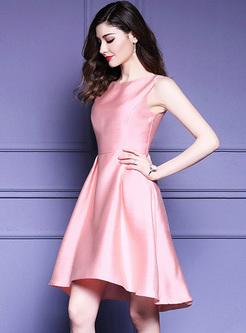 Elegant Sleeveless High Waist Pink Dress