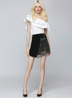 Sexy Mini Asymmetric Rivet Skirt