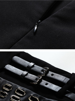 Sexy Mini Asymmetric Rivet Skirt