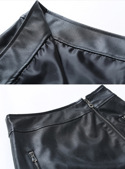 Black Zipper High Waist PU Skirt