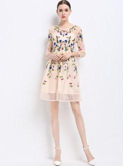 Mesh Embroidered Slim 3/4 Sleeve Skater Dress