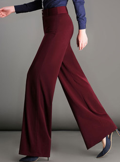 Pure Color High Waist Wide Leg Pants