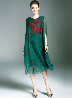 Ethic Embroidered Improved Loose Shift Dress