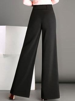 Pure Color High Waist Wide Leg Pants