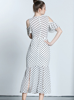 Chic Off Shoulder Dot Print Split Maxi Dress