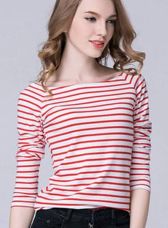 Striped Slim Long Sleeve T-shirt