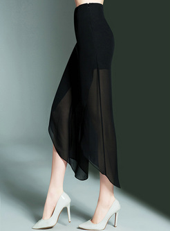 Black High Waist Asymmetric Hem Pants