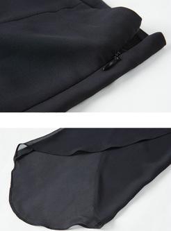 Black High Waist Asymmetric Hem Pants