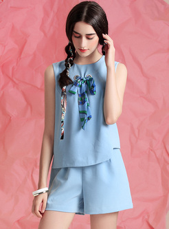 50335a4ad913 Cute Loose Blue Bowknot Two-piece Outfits ...