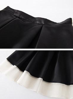 Hit Color Mesh High Waist Skirt