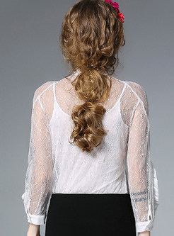 Sexy Hollow Out See Through Long Sleeve Blouse With Camis