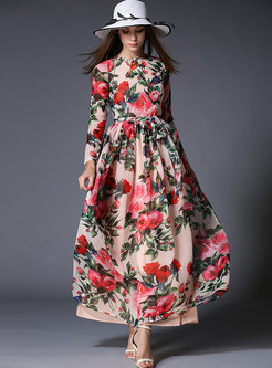 Chiffon Floral Print High Waist Long Sleeve Maxi Dress