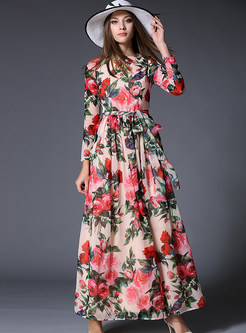 Crew Neck Floral Long Sleeve Maxi Dress