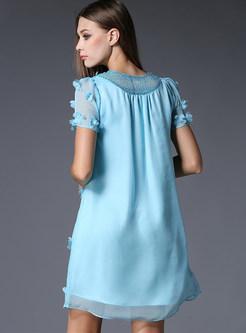 Chiffon Sequins Loose V-neck Short Sleeve Shift Dress