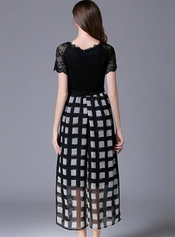 Lace Splicing Plaid Openwork Maxi Dress
