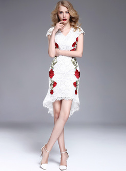 Elegant Rose Embroidery Asymmetric Hem Skinny Dress