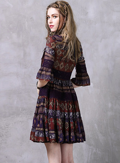 Ethnic Print Flare Sleeve Skater Dress