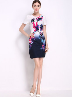 Ethnic Lotus Design Print Short Sleeve Bodycon Dress