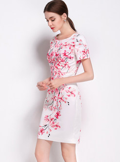 Vintage Floral Print O-neck Short Sleeve Bodycon Dress