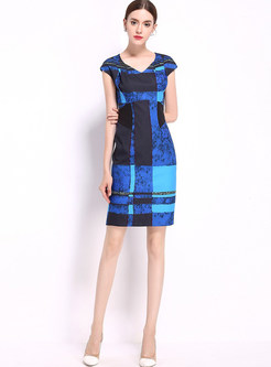 Brief Plaid V-neck Short Sleeve Bodycon Dress