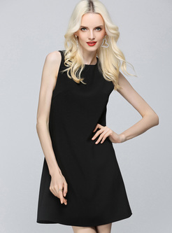 Black Off Back Bead Shift Dress