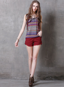 Vintage Striped Color-blocked Tanks