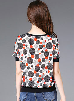 Casual O-neck Short Sleeve Dot T-shirt