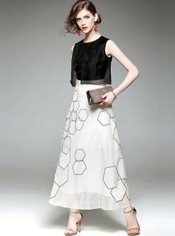 Geometric Patterns Silk Sleeveless Maxi Dress