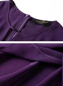 e1b7ca6375 ... Brief Chiffon See Through Long Sleeve Purple Skater Dress