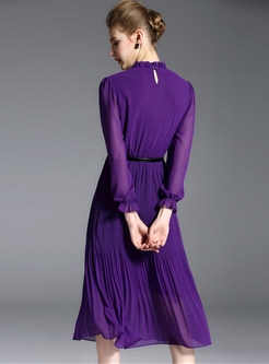 7332f0a4ed ... Elegant Chiffon Stand Collar Long Sleeve Purple Pleated Skater Dress  Without Belt ...
