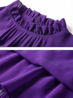 506685418e ... Elegant Chiffon Stand Collar Long Sleeve Purple Pleated Skater Dress  Without Belt